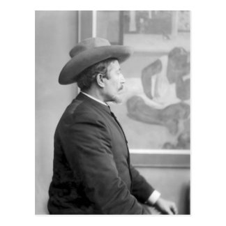 Paul Gauguin  in front of his canvases Postcard