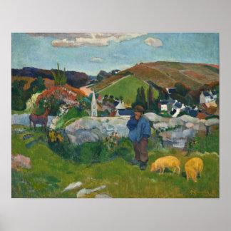 Paul Gauguin The Swineherd Poster