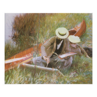 Paul Helleu Sketching with His Wife by Sargent Poster