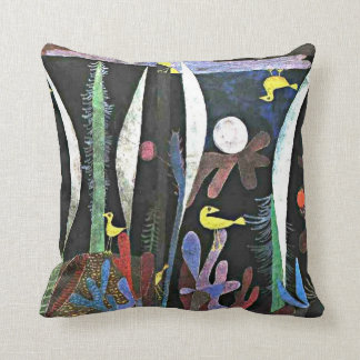 Paul Klee art: Landscape with Yellow Birds Cushion