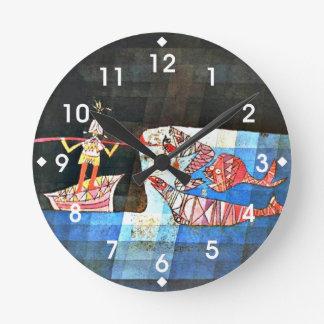 Paul Klee art - The Seafarer Round Clock