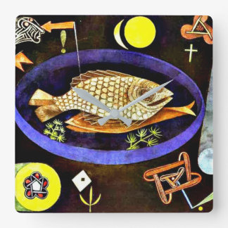 Paul Klee painting, Aroundfish Square Wall Clock