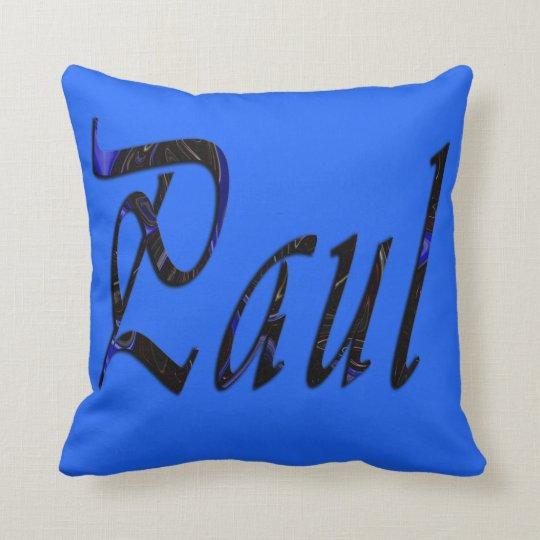 Paul, Name, Logo, Blue Throw Cushion. Throw Pillow