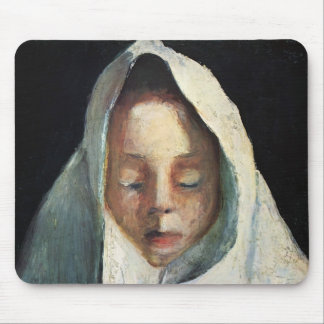 Paula Becker-Still life,child's head , white cloth Mouse Pad