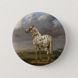 "Paulus Potter - The ""Piebald"" Horse. Vintage Image 6 Cm Round Badge"
