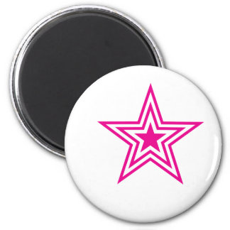 Pauly Star-Pink 6 Cm Round Magnet