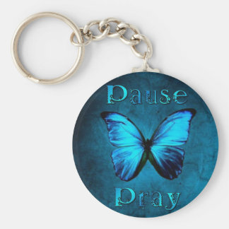 Pause Pray Blue Butterfly Key Ring