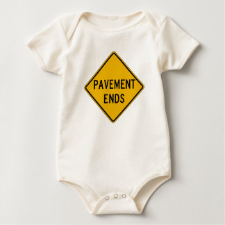 Pavement Ends 1, Traffic Warning Sign, USA Baby Bodysuits