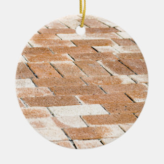 Pavement of brown tiles - close up view ceramic ornament