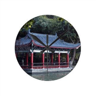Pavilion, Lake Ronghu, Guilin, China Round Clock