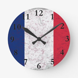 Pavillon de la France  Flag of France Round Clock