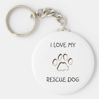 paw background, I LOVE MY, RESCUE DOG Basic Round Button Key Ring