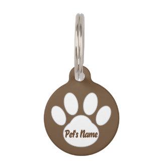 Paw Design Dog Tag  (Brown) *Customizable*