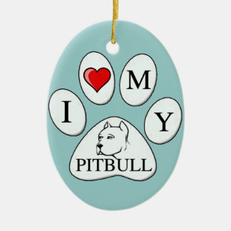 PAW - I heart my Pit Bull - Love Dogs Ornaments