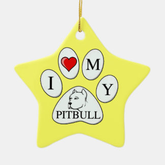 PAW - I heart my Pit Bull - Love Dogs Christmas Ornaments