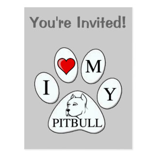 PAW - I heart my Pit Bull - Love Dogs Post Card