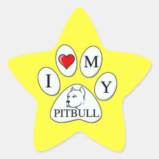PAW - I heart my Pit Bull - Love Dogs Star Sticker