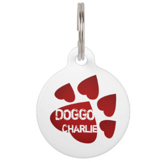 Paw of hearts pet love pet ID tag
