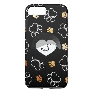 Paw Print Black Dog Cat Heart Monogram iPhone iPhone 8 Plus/7 Plus Case