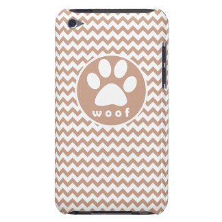 Paw Print Brown Chevron Barely There iPod Cases