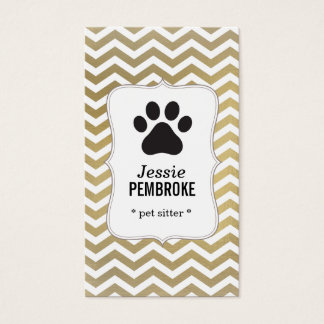 Paw print business card -  faux foil