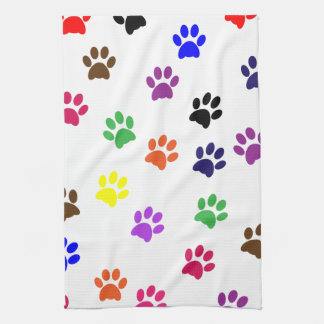 Paw print cat pet colorful fun pawprints, tracks tea towel