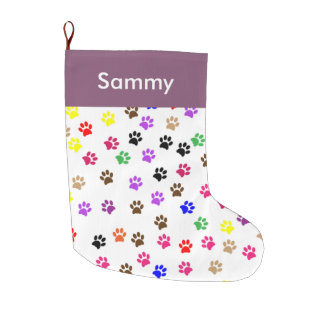 Paw print Christmas stocking. Large Christmas Stocking