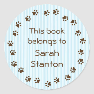 Paw print circle book plate or booklabel round sticker
