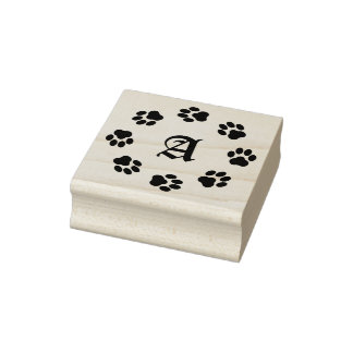 Paw Print Circle Rubber Stamp with Monogram