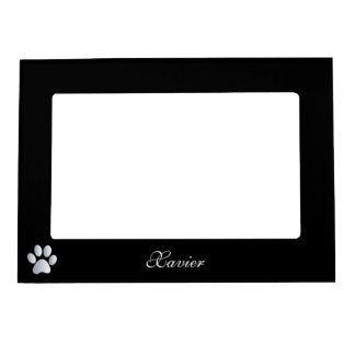 Paw print custom dogs name initial X black Picture Frame Magnets
