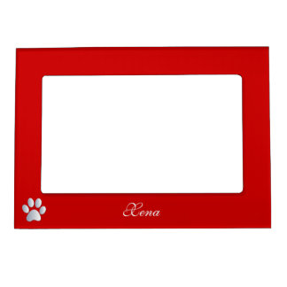 Paw print custom dogs name initial X red Magnetic Picture Frame