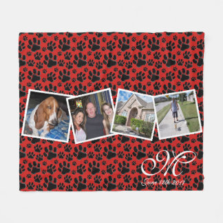 Paw Print Custom Photo Blanket