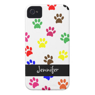 Paw print dog custom girls name blackberry case