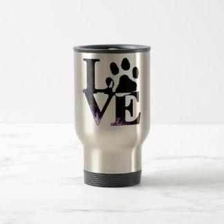 paw print dog love travel mug