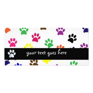 Paw print dog pet colorful fun custom bookmark rack card