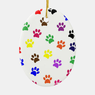 Paw print dog pet colorful fun oval ornament