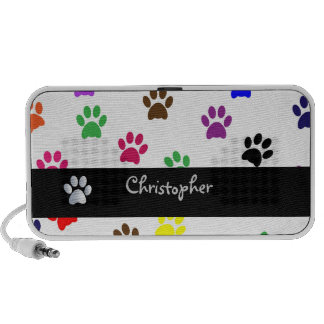 Paw print dog pet custom boys name doodle speaker