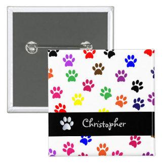 Paw print dog pet custom boys name fun button pin