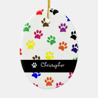 Paw print dog pet custom boys name oval ornament