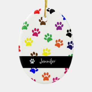 Paw print dog pet custom girls name oval ornament