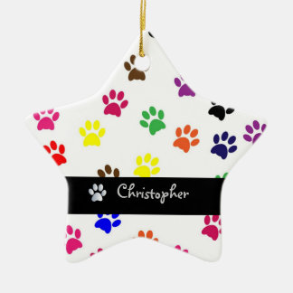 Paw print dog pet custom girls name star ornament