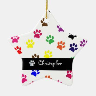 Paw print dog pet custom girls name star ornament