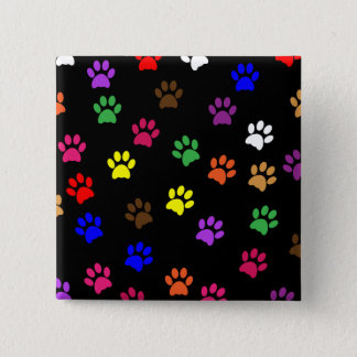 Paw print dog pet fun colorful button, pin