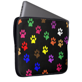 Paw print dog pet fun colorful laptop bag