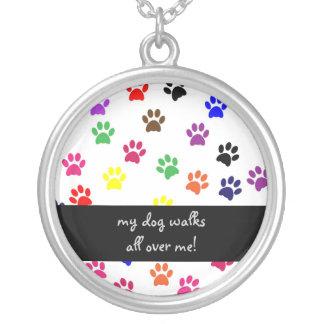 Paw print dog pet fun colorful necklace