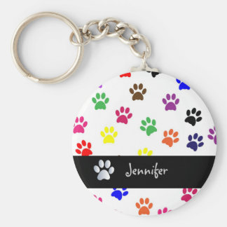 Paw print dog pet fun custom girls name keychain