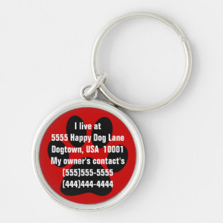 Paw Print Dog Tag Key Ring
