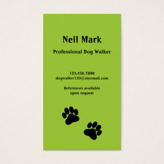 Paw Print Dog Walker in Green Business Card