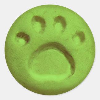 Paw Print Dot - Green Classic Round Sticker