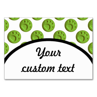 Paw Print Dot - Green Table Card